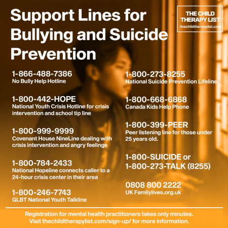 Support Lines for Bullying and Suicide Prevention
